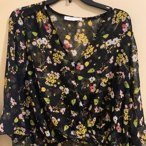 Sheer bell sleeve floral blouse